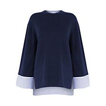 Buy Warehouse Deep Woven Cuff Jumper, Navy Online at johnlewis.com