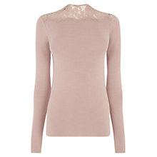 Buy Warehouse Lace High Neck Jumper Online at johnlewis.com