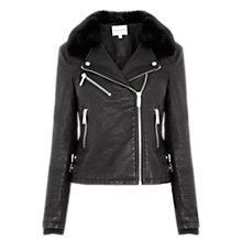 Buy Warehouse Faux Fur Collar Biker Jacket, Black Online at johnlewis.com