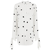 Buy Warehouse Print Dotty Spot Tie Wrist Blouse, Neutral Print Online at johnlewis.com