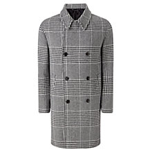 Buy Jigsaw Fox Brother Glen Check Double Breasted Coat, Grey Online at johnlewis.com