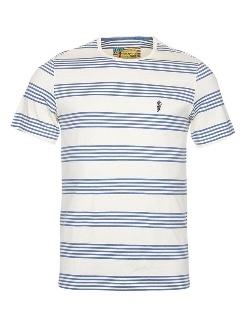 Barbour International Barbour International Steve McQueen Track Striped T-Shirt, Neutral/Blue