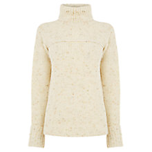 Buy Warehouse Nep Roll Neck Jumper, Cream Online at johnlewis.com