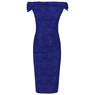 Jolie Moi Bardot Neck Dress, Royal Blue