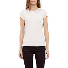Buy Ted Baker Sillia Frill Neck Fitted T-Shirt, Baby Pink Online at johnlewis.com