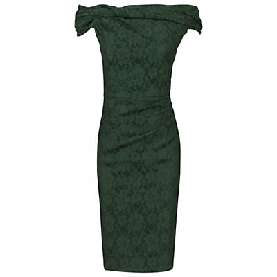 Jolie Moi Bardot Neck Dress, Dark Green
