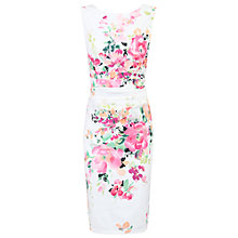 Buy Jolie Moi Printed Ruched Shift Dress, White Floral Online at johnlewis.com