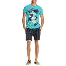 Buy Scotch & Soda Dancing in the Shade Print T-Shirt, Surf Blue Melange Online at johnlewis.com
