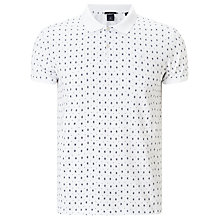 Buy Scotch & Soda Premium Pique Diamond Print Polo Top, White Online at johnlewis.com
