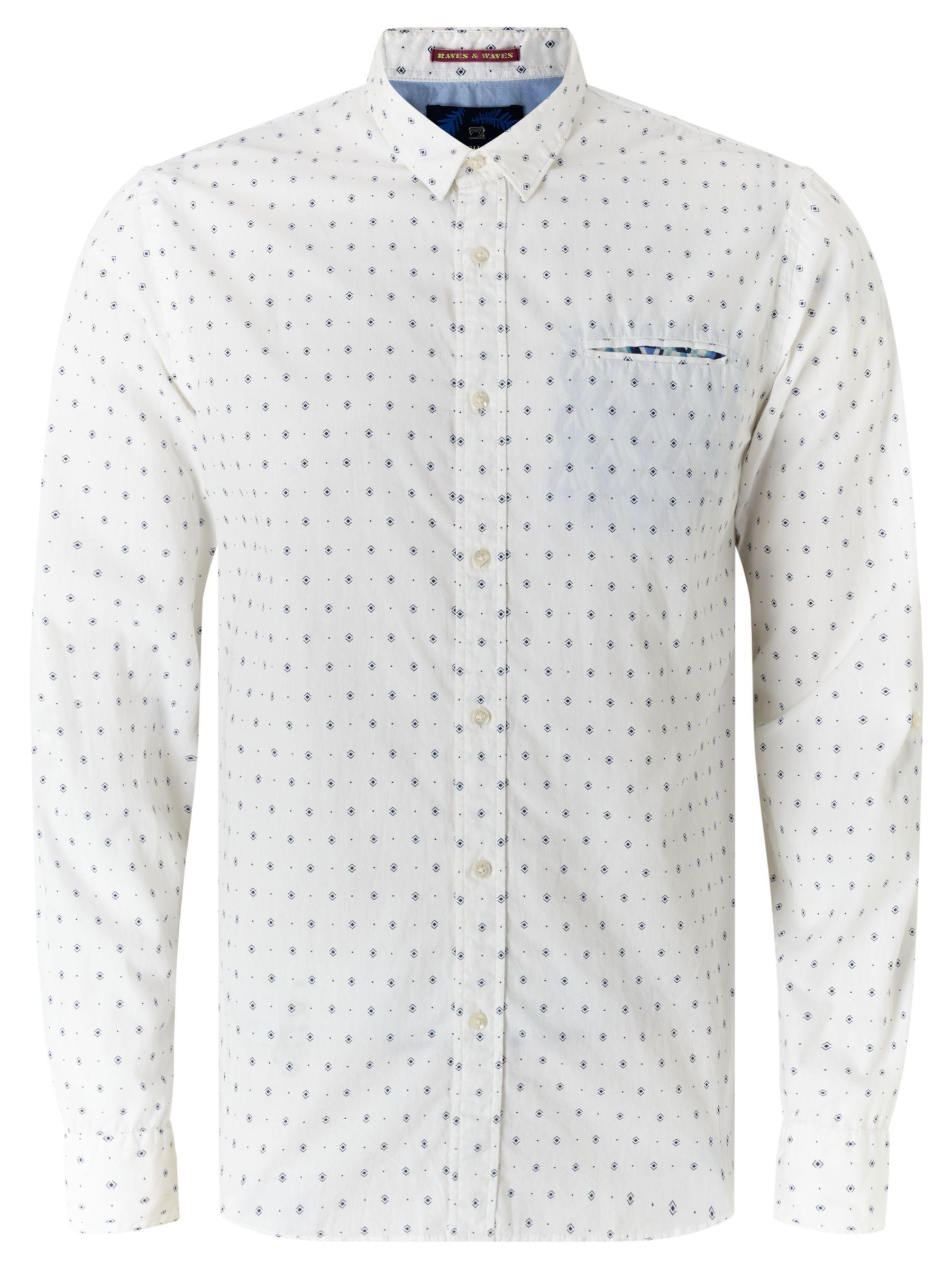 Scotch & Soda Scotch & Soda Long Sleeve Fixed Pochet Shirt, White