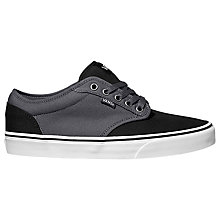 Buy Vans Atwood Canvas Trainers, Black/Asphalt Online at johnlewis.com
