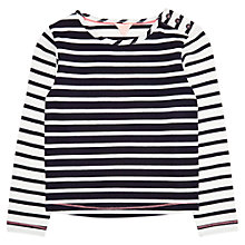 Buy Jigsaw Girls' Breton Stripe Button T-Shirt, Navy/White Online at johnlewis.com