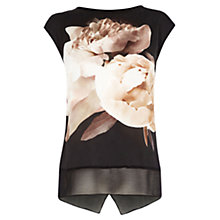 Buy Oasis Digital Peony Print Top, Black Online at johnlewis.com