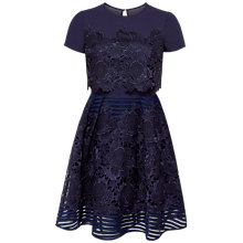 Buy Ted Baker Limie Lace Detail Dress, Dark Blue Online at johnlewis.com