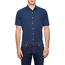 Buy Hackett London Mini Paisley Short Sleeve Slim Shirt, Blue Online at johnlewis.com