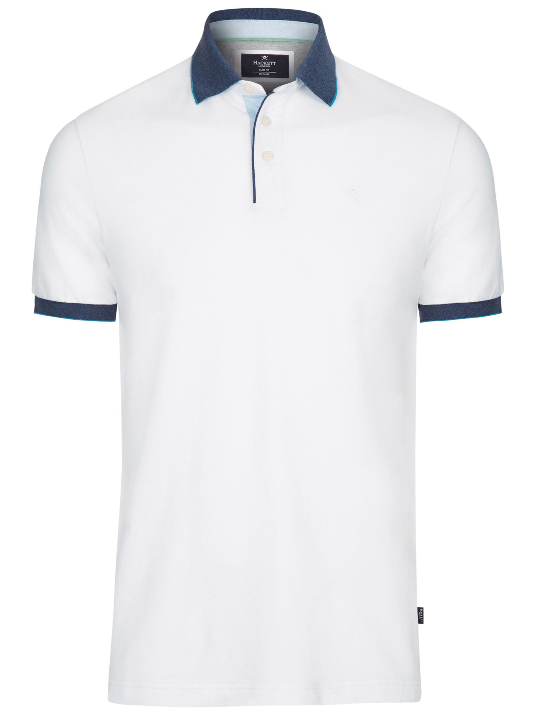 Hackett London Hackett London Woven Trim Polo Shirt, White