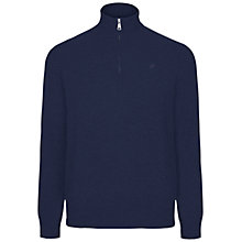 Buy Hackett London Cotton Cashmere Half Zip Jumper, Dark Denim Online at johnlewis.com