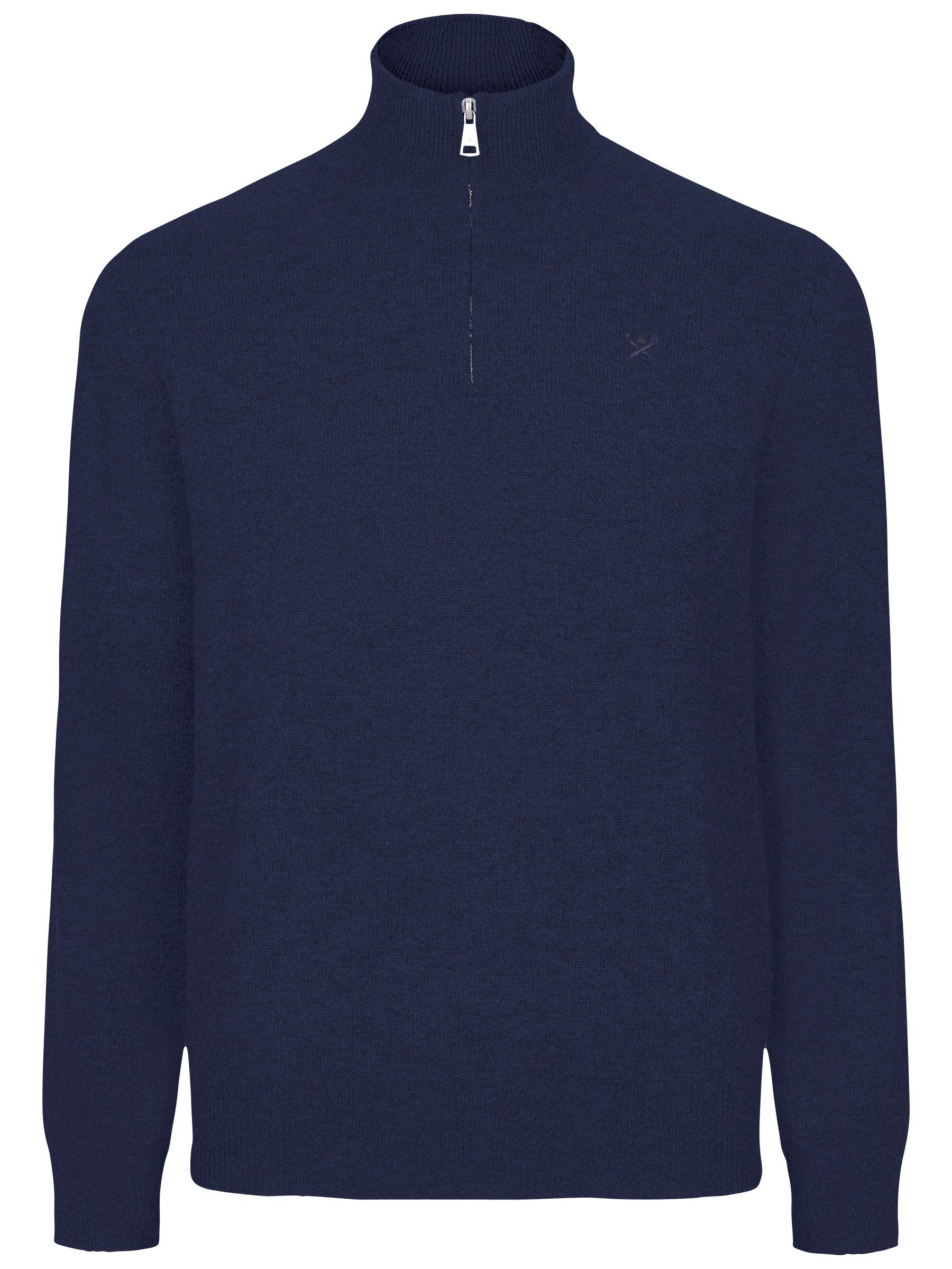 Hackett London Hackett London Cotton Cashmere Half Zip Jumper, Dark Denim