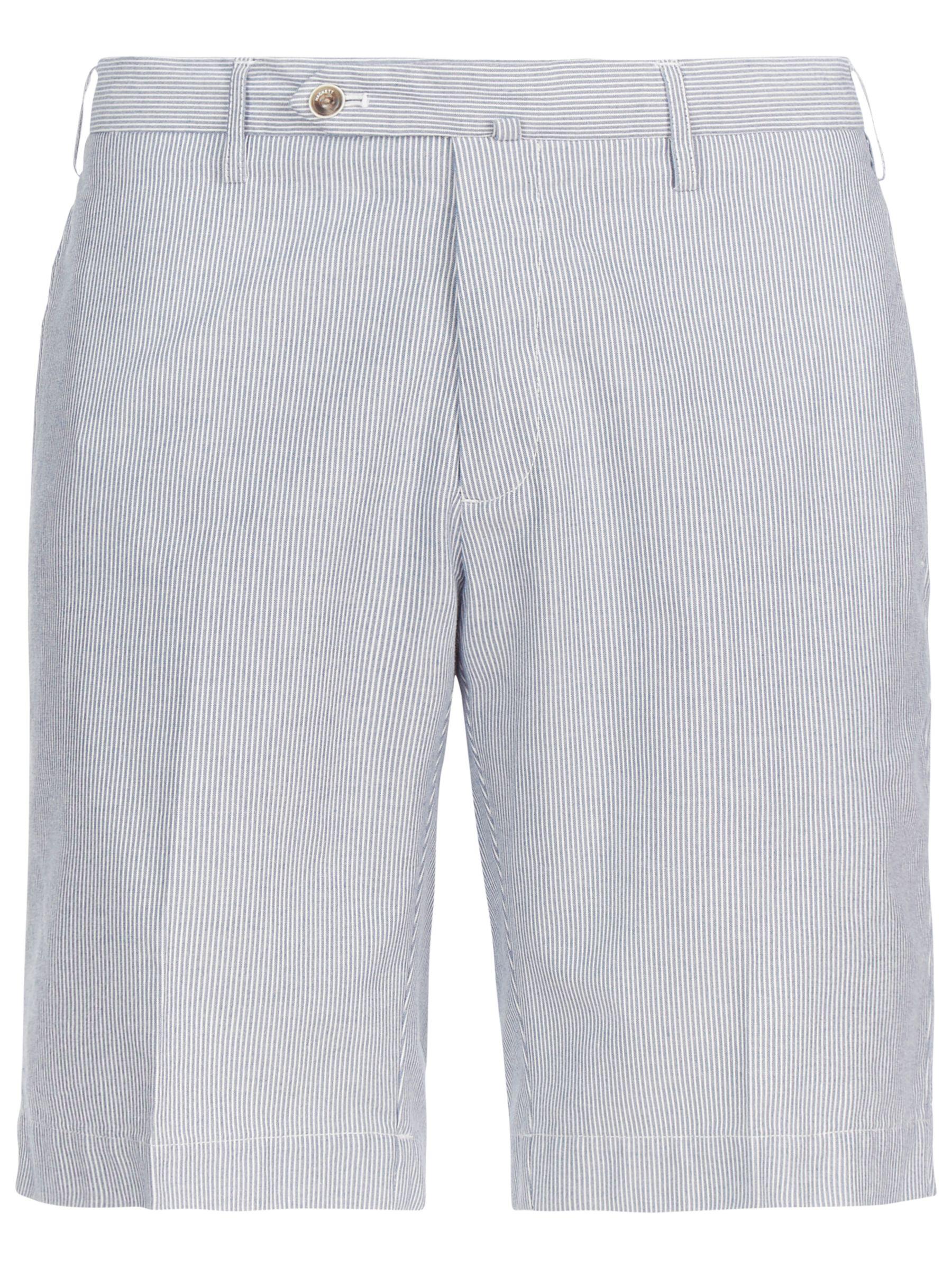 Hackett London Hackett London Nautical Stripe Cotton Shorts, Navy/White