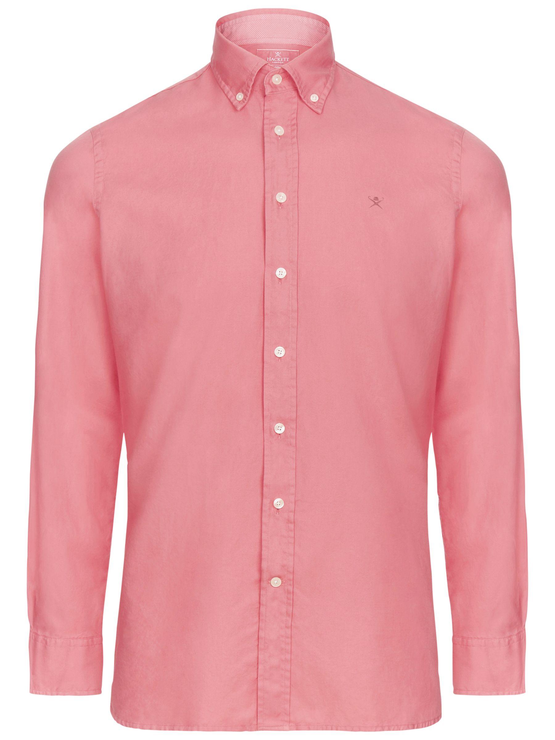 Hackett London Hackett London Brompton Garment Dyed Slim Oxford Shirt, Dark Rose