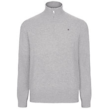 Buy Hackett London Cotton Cashmere Half Zip Jumper, Grey Marl Online at johnlewis.com