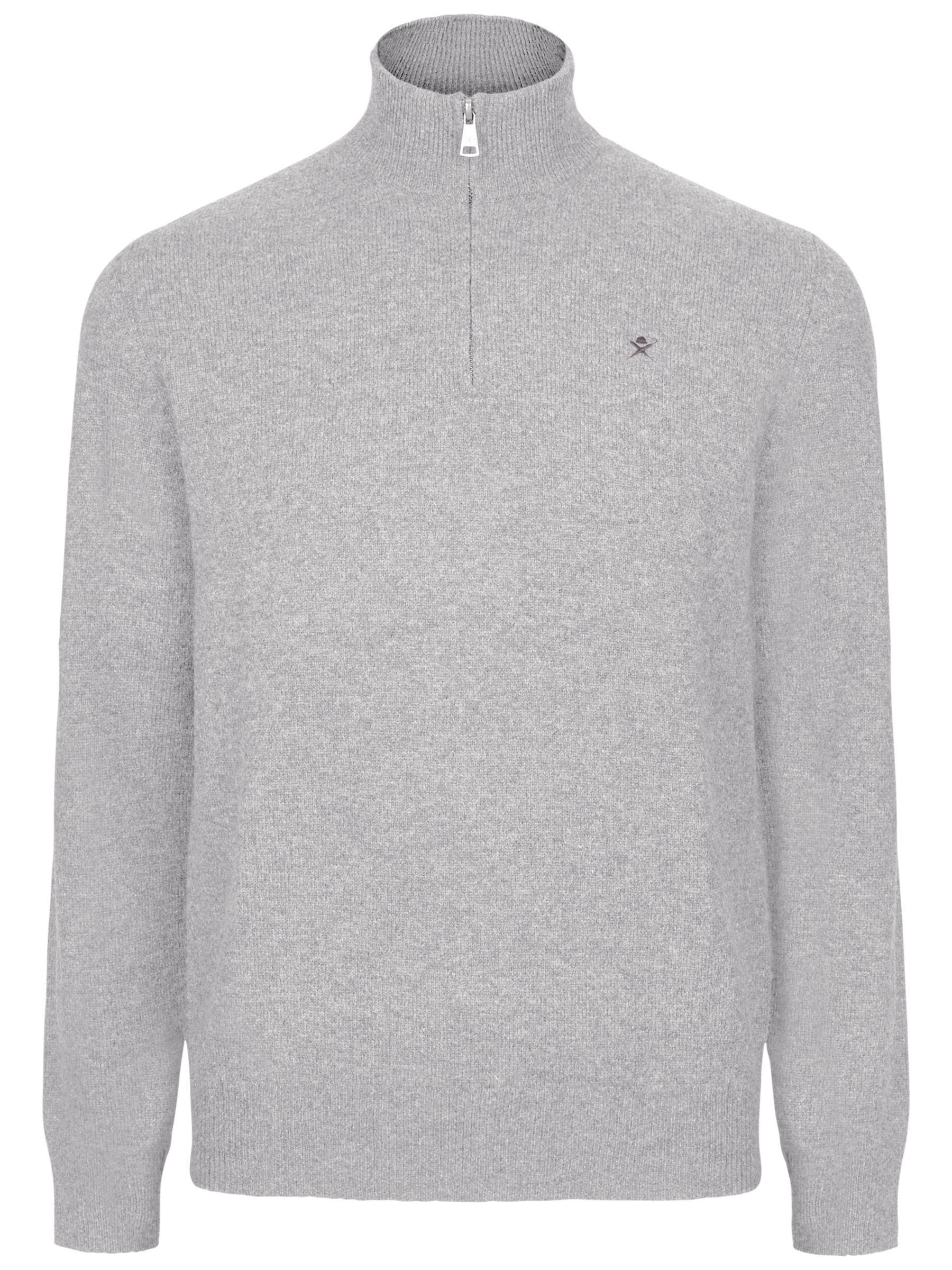 Hackett London Hackett London Cotton Cashmere Half Zip Jumper, Grey Marl