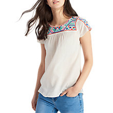 Buy Joules Hermione Emrbroidered Top, Bright White Online at johnlewis.com