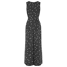 Buy Warehouse Dotty Jumpsuit, Black Online at johnlewis.com