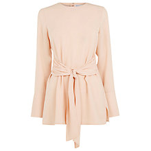 Buy Warehouse Tie Front Tunic Top, Light Pink Online at johnlewis.com