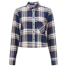 Buy Miss Selfridge Crop Check Shirt, Multi Online at johnlewis.com