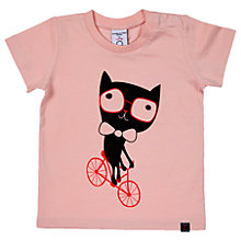 Buy Polarn O. Pyret Baby Cat Print T-Shirt, Pink Online at johnlewis.com