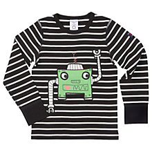 Buy Polarn O. Pyret Boys' Striped Robot T-Shirt, Black/White Online at johnlewis.com