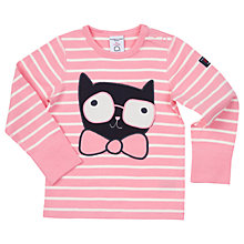 Buy Polarn O. Pyret Baby Striped Cat T-Shirt, Pink Online at johnlewis.com