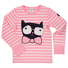 Buy Polarn O. Pyret Girls' Striped Cat T-Shirt, Pink Online at johnlewis.com
