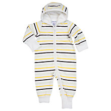 Buy Polarn O. Pyret Baby Striped Velour Onesie, White Online at johnlewis.com