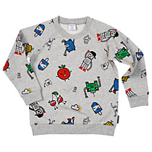 Buy Polarn O. Pyret Boys' Cartoon Apple Sweatshirt, Grey Online at johnlewis.com