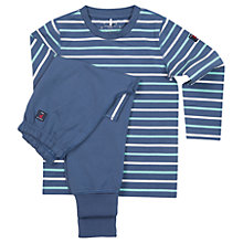 Buy Polarn O. Pyret Boys' Striped Pyjamas Top and Trousers, Blue Online at johnlewis.com