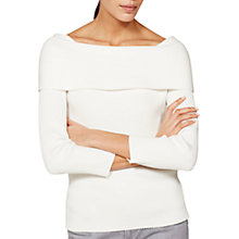 Buy Mint Velvet Ribbed Bardot Knit  Jumper, Ivory Online at johnlewis.com