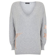 Buy Mint Velvet Abstract Foil Print Star Jumper, Light Grey Online at johnlewis.com