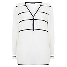 Buy Mint Velvet Ivy Ink Zip Front Blouse, Stripe Online at johnlewis.com
