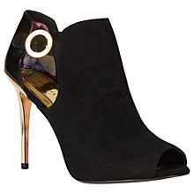 Buy Ted Baker Sandrouse Peep Toe Shoe Boots, Black/Gold Online at johnlewis.com