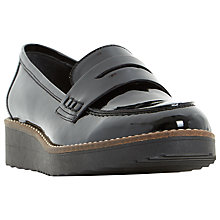 Buy Dune Graphic Flatform Penny Loafers, Black Online at johnlewis.com