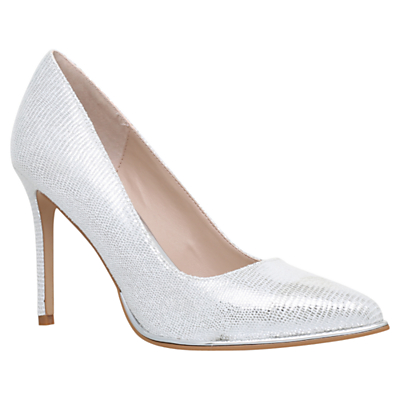 KG by Kurt Geiger Beauty Stiletto Court Shoes, Silver Reptile