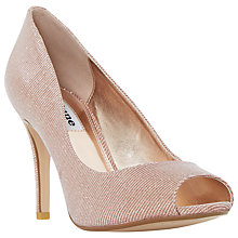 Buy Dune Dinaa Peep Toe Stiletto Heeled Sandals, Rose Gold Online at johnlewis.com