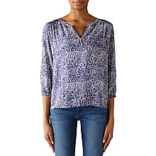 Buy Pyrus Grace Printed Silk Blouse, Navy/Pink Online at johnlewis.com