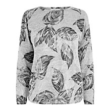 Buy Oasis Feather Foil Drop Shoulder Sweatshirt, Mid Grey Online at johnlewis.com