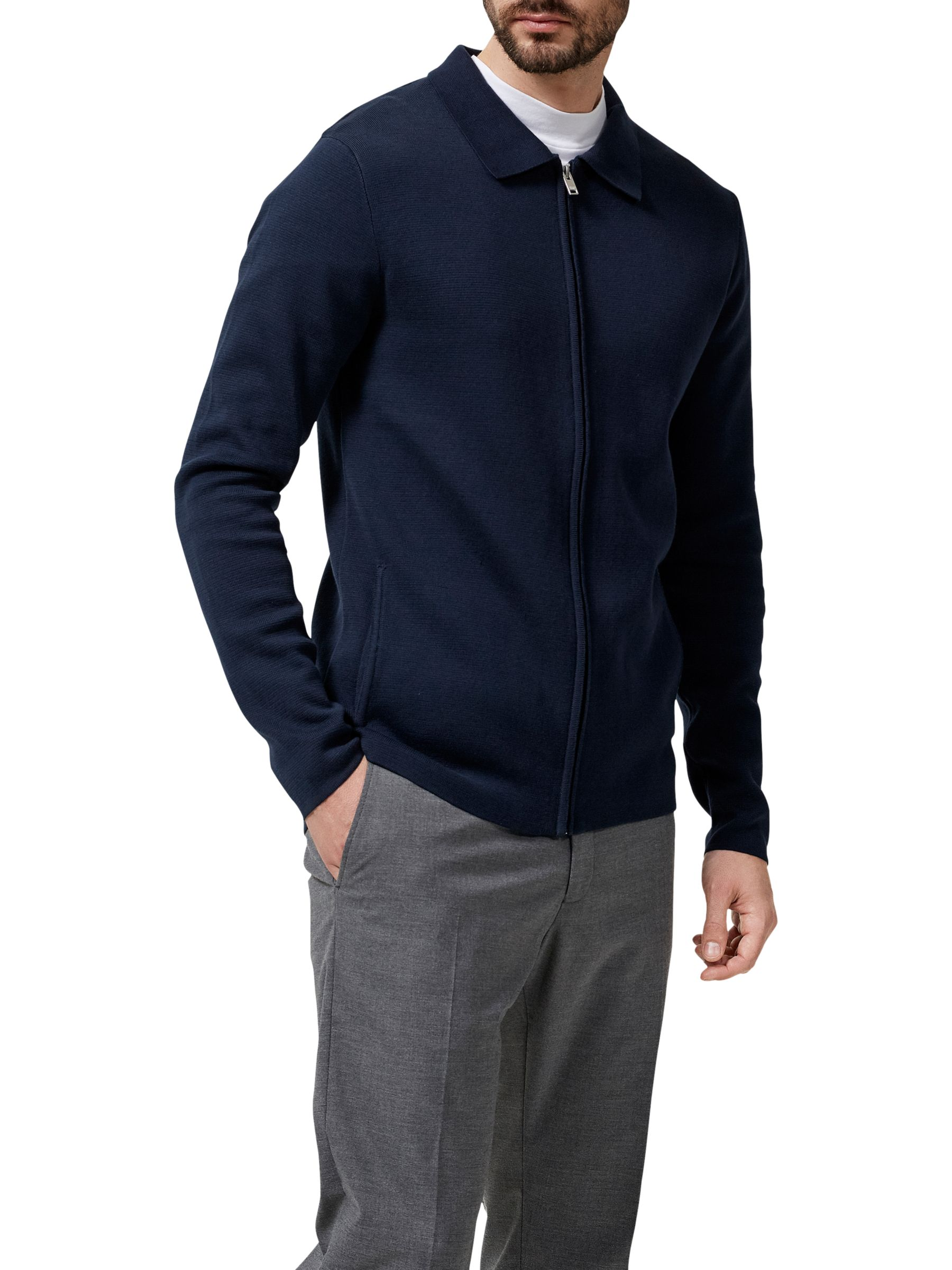 Selected Homme Selected Homme Jakob Full Zip Knitted Jacket, Dark Sapphire
