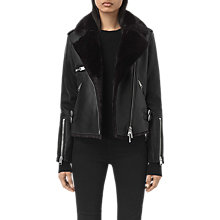 Buy AllSaints Higgens Lux Biker Jacket, Black Online at johnlewis.com