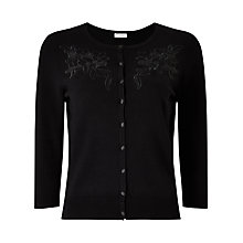 Buy Precis Petite Kendal Embroidered Cardigan, Black Online at johnlewis.com