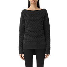 Buy AllSaints Reed Boat Neck Jumper, Cinder Black Online at johnlewis.com